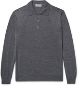Canali Knitted Wool Polo Shirt