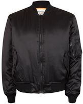 Topman FINDS Black Embroidered Patch Satin MA1 Bomber Jacket