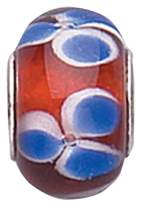 Jo for Girls Murano Glass Red Blue Petals Bead With Silver Core
