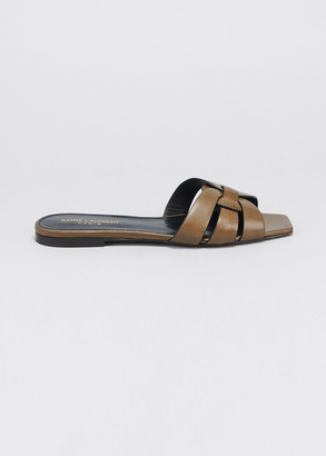 Saint Laurent Woven Leather Flat Slide Sandals