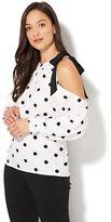 New York & Co. 7th Avenue - Tie-Detail Cold-Shoulder Blouse - Polka-Dot Print