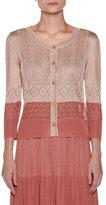 Agnona Colorblock Pointelle 3/4-Sleeve Cardigan, Pink/Multi