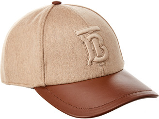 Burberry Monogram Motif Cashmere & Leather Baseball Cap