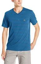 Lacoste Men's Short Sleeve V Neck Stripe T