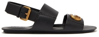 Gucci Gg Marmont Leather Sandals - Mens - Black
