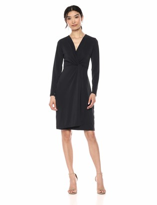 Lark & Ro Amazon Brand Women's Long Sleeve Front-Twist Wrap Dress