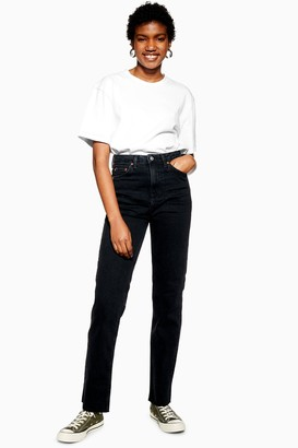 Topshop Womens Tall Washed Black Straight Jeans - Washed Black