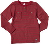 Nano Striped Henley (Toddler/Kid)-Deep Red-7 Years