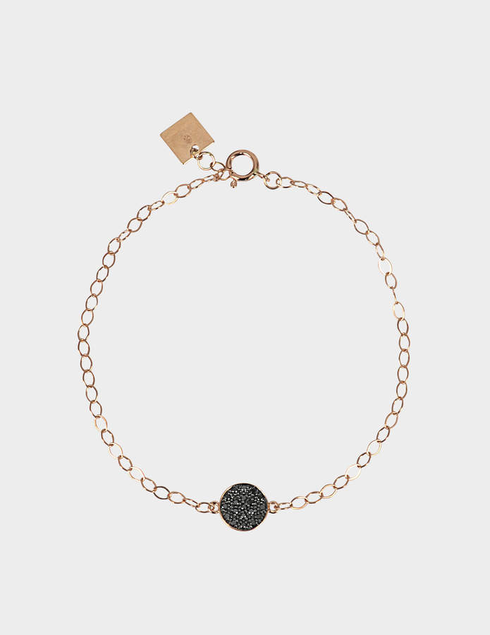 ginette_ny Mini Black Diamond Ever Disc 18-karat rose gold bracelet