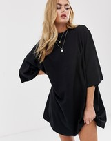 Asos Design DESIGN oversized t-shirt dress in black