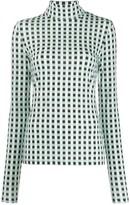 Proenza Schouler White Label Multicolor Gingham Jersey Long Sleeve Turtleneck