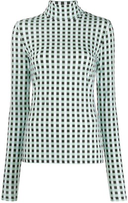 Proenza Schouler White Label Multicolor Gingham Jersey Long Sleeve Turtleneck