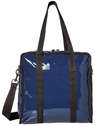 Le Sport Sac Gabrielle Box Tote (Navy Patent) Handbags