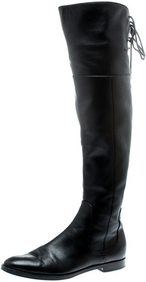 Sergio Rossi Black Leather Knee High Boots Size 37.5