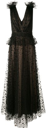Tadashi Shoji Sleeveless Embroidered Dotted Tulle Gown