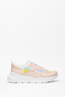 Nasty Gal Womens Run With It Faux Leather Two-Tone Trainers - Multi - 3