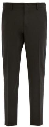 Valentino Side-stripe Crepe Straight-leg Trousers - Black