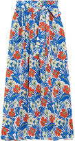 Etro Printed Silk-seersucker Maxi Skirt - Azure