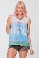Chaser LA NYC Skyline Muscle Crop in White Ombre