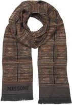 Missoni Dark Brown Woven Wool Blend Men's Scarf