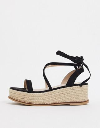 ASOS DESIGN Tara flatform tie leg sandals in black
