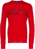 Alexander McQueen dancing skeleton logo text wool jumper
