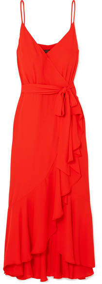 J.Crew Wrap-effect Ruffled Crepe De Chine Midi Dress - Red