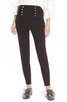 Leith Women's Button High Waist Ankle Pants