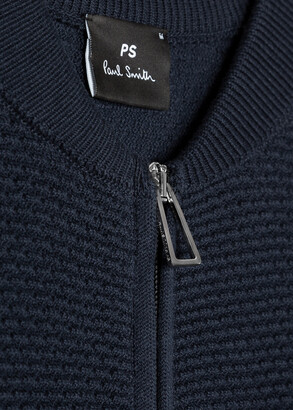 Paul Smith Men's Navy Stripe Compact-Cotton Zip Cardigan