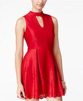 Speechless Juniors' Laser-Cutout Scuba Fit & Flare Dress, A Macy's Exclusive