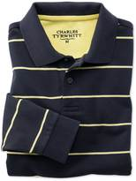 Charles Tyrwhitt Classic fit navy and yellow striped pique long sleeve polo