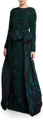 Rickie Freeman For Teri Jon Long-Sleeve Soutache Lace Taffeta Over-Skirt Gown