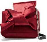 No.21 No. 21 - Knot Satin And Leather Shoulder Bag - Burgundy