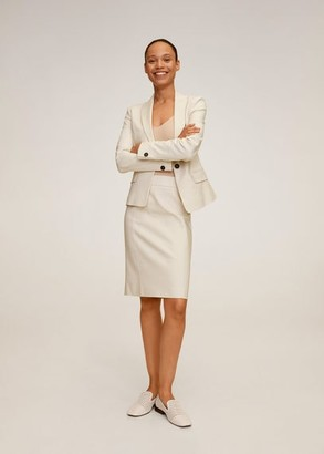 MANGO Cotton pencil skirt beige - 2 - Women