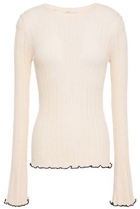 Maje Mimosa Ruffle-trimmed Pointelle-knit Top