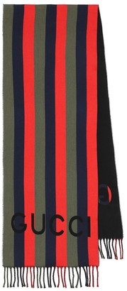 Gucci Striped wool and cotton scarf