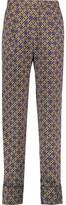 Sandro Printed Satin-Twill Straight-Leg Pants