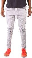TheMogan Men's The Dropstik Drawstring Skinny Jeans Grey Grey