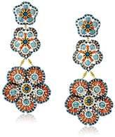 Miguel Ases Quartz Three-Flower Drop Earrings