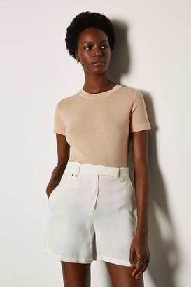 Karen Millen Short Sleeve Knitted Top