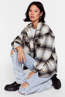Nasty Gal Womens Check Out the Facts Relaxed Shirt Jacket - Black