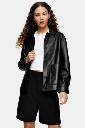 Topshop Black Faux Leather Shacket