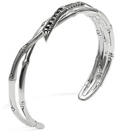John Hardy Women's Sterling Silver Bamboo Lava Narrow Squeeze Cuff with Black Sapphires
