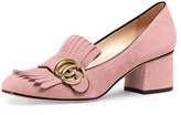 Gucci Marmont Fringe Suede 55mm Loafer, Crystal Pink