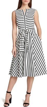 Tahari Striped Tie Waist A-Line Midi Dress
