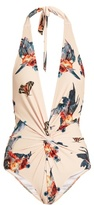 Katie Eary Fish-print twist-front swimsuit