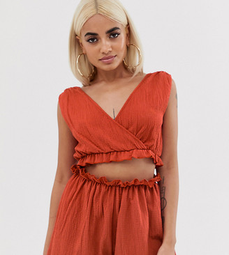 ASOS DESIGN Petite jersey beach crop top in crinkle with frill hem