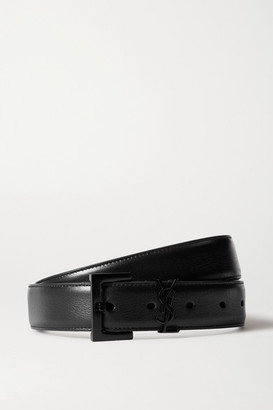 Saint Laurent Embellished Leather Belt - Black