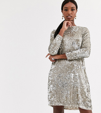 TFNC Tall Tall sequin mini swing dress in silver and gold-Multi