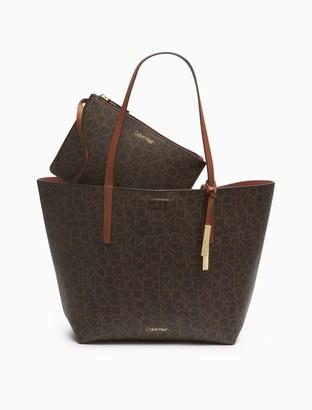 Calvin Klein Rachel Monogram Logo Reversible Tote Bag + Zip Pouch